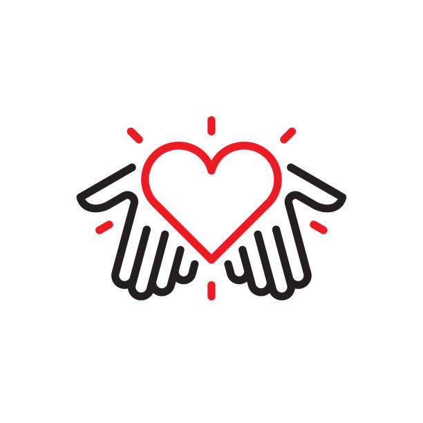 hands with heart logo - vector stock illustrations