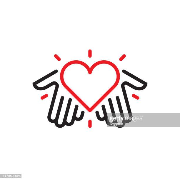 illustrazioni stock, clip art, cartoni animati e icone di tendenza di hands with heart logo - dati
