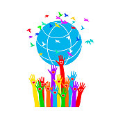 Hands with hearts support the globe surrounded by colorful birds. Symbol of peace. Vector illustration isolated on white background, template for design, greeting card, invitation.