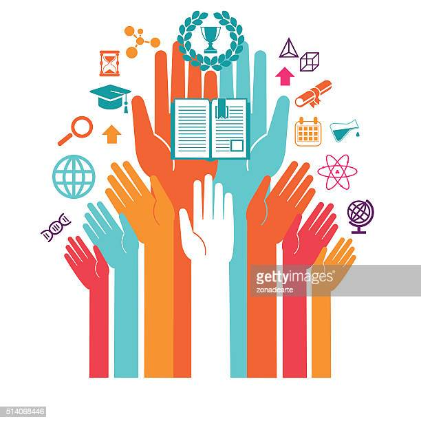 Hands with icons of education and technology