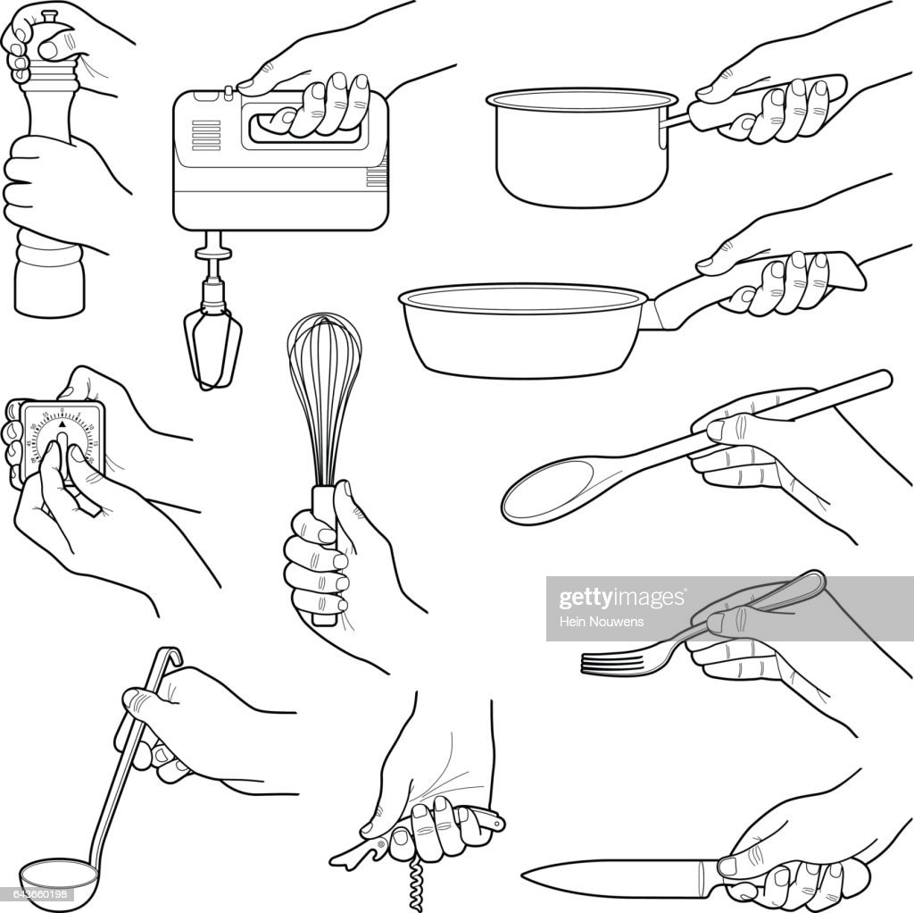 Hands with kitchen tools collection - vector line illustration