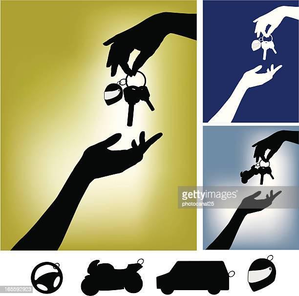 hands with motorbike keys - car key stock illustrations, clip art, cartoons, & icons