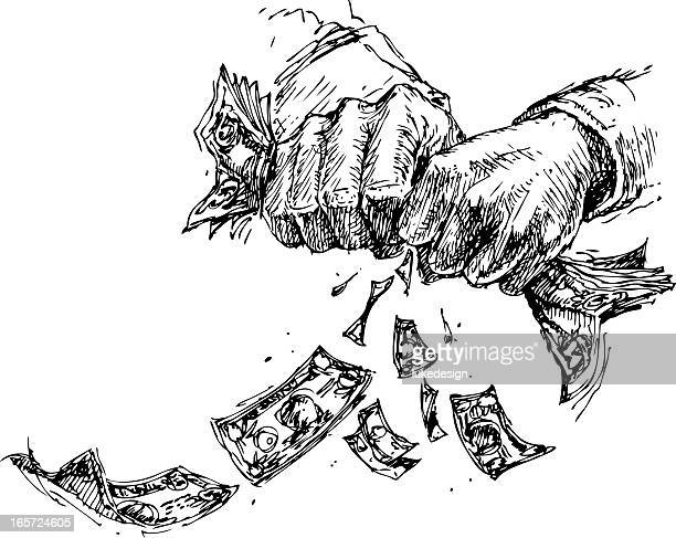 hands wringing/squeezing money - cash flow stock illustrations, clip art, cartoons, & icons