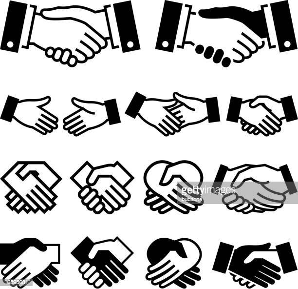 Handshake Agreement business meeting royalty free vector icon set