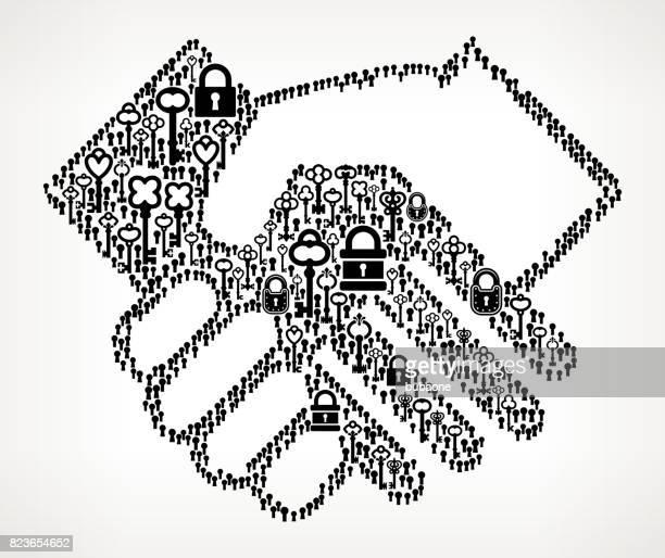 Handshake  Antique Keys Black and White Vector Pattern