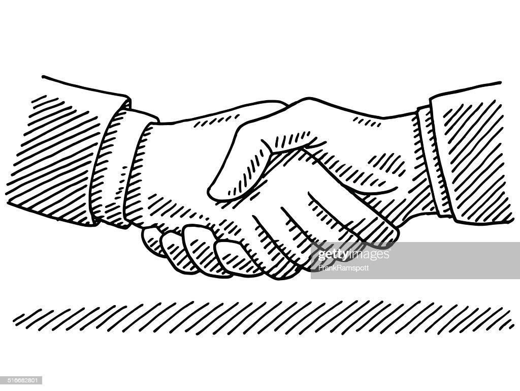 Apretón De Manos Negocios De Acuerdo Con El Dibujo