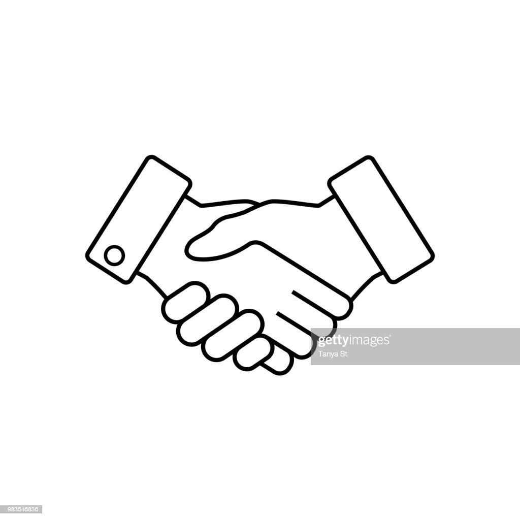 Handshake business icon, vector.
