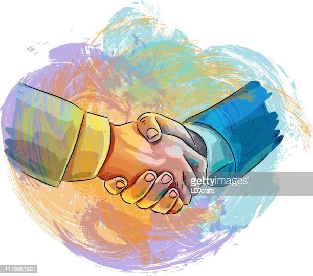 illustrazioni stock, clip art, cartoni animati e icone di tendenza di disegno handshake - scuotere