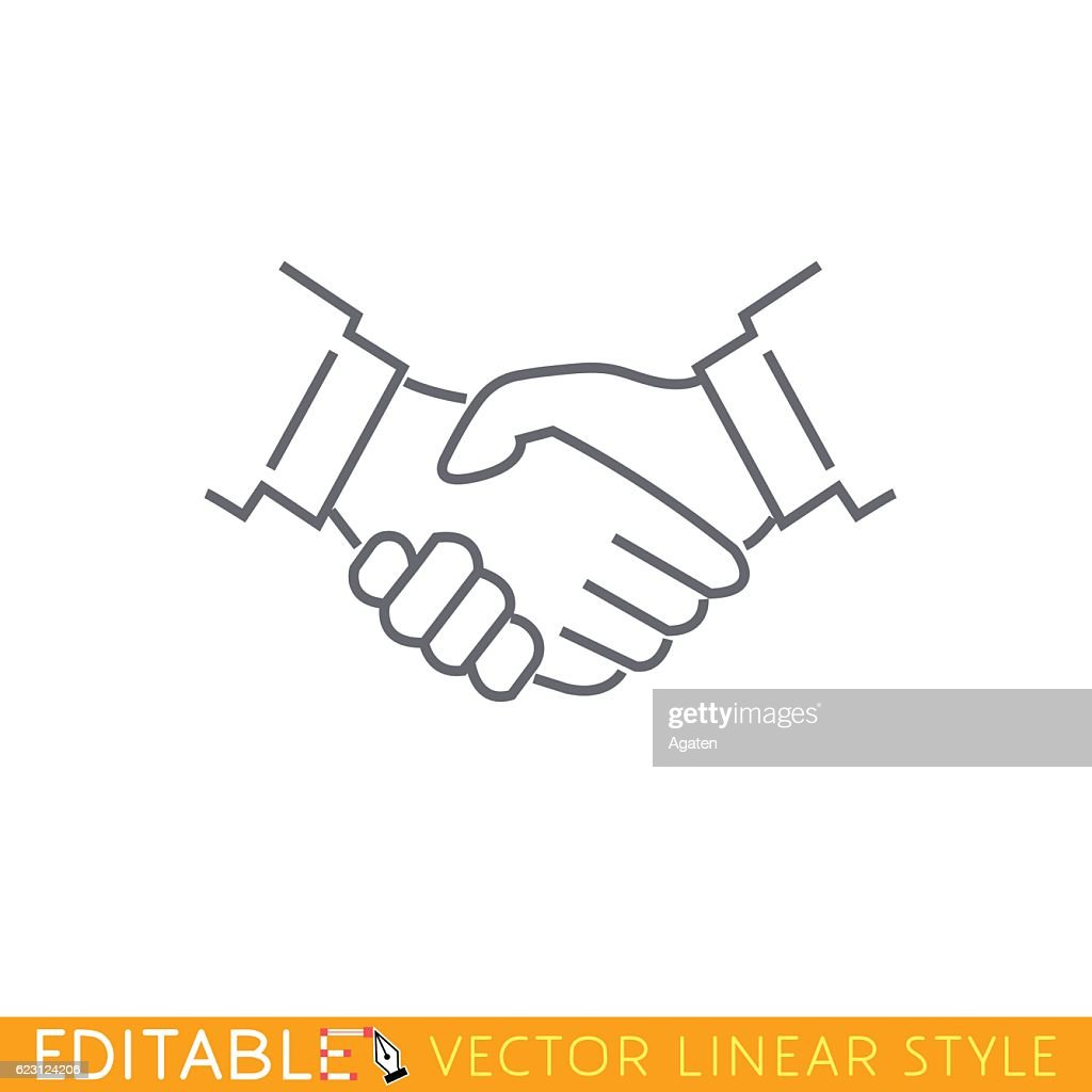 Handshake. Editable outline sketch icon.