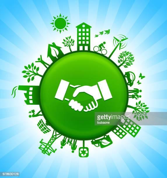 ilustrações de stock, clip art, desenhos animados e ícones de handshake environment green button background on blue sky - dar cartas