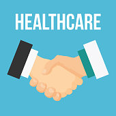 Handshake flat icon. Doctor and patient.
