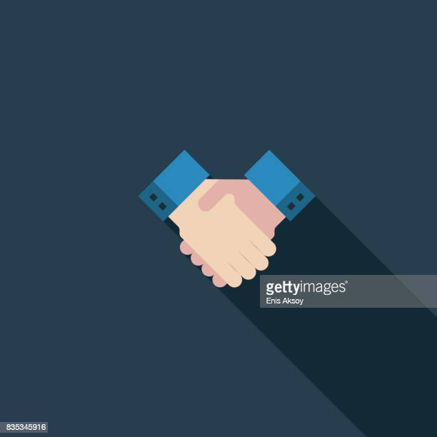 handshake flat icon - approval stock illustrations, clip art, cartoons, & icons