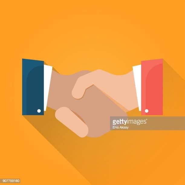 handshake flat icon - handshake stock illustrations