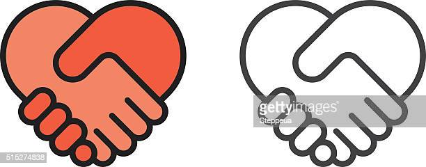 handshake heart icon - peace stock illustrations, clip art, cartoons, & icons