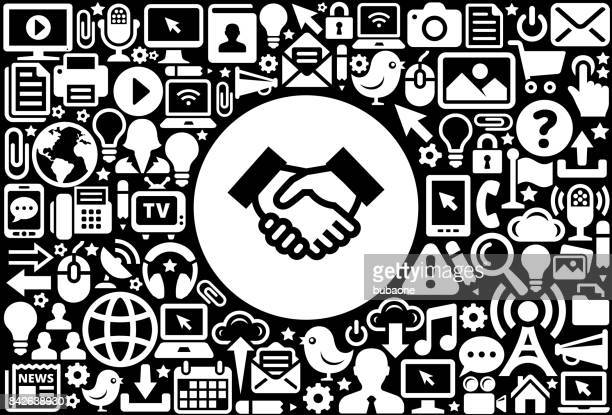 Handshake Icon Black and White Internet Technology Background