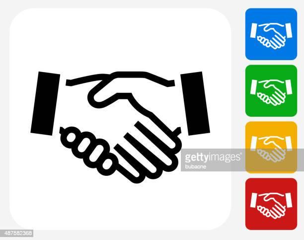 ilustraciones, imágenes clip art, dibujos animados e iconos de stock de handshake iconos planos de diseño gráfico - aferrarse