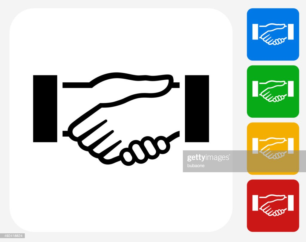 Handshake Icon Flat Graphic Design