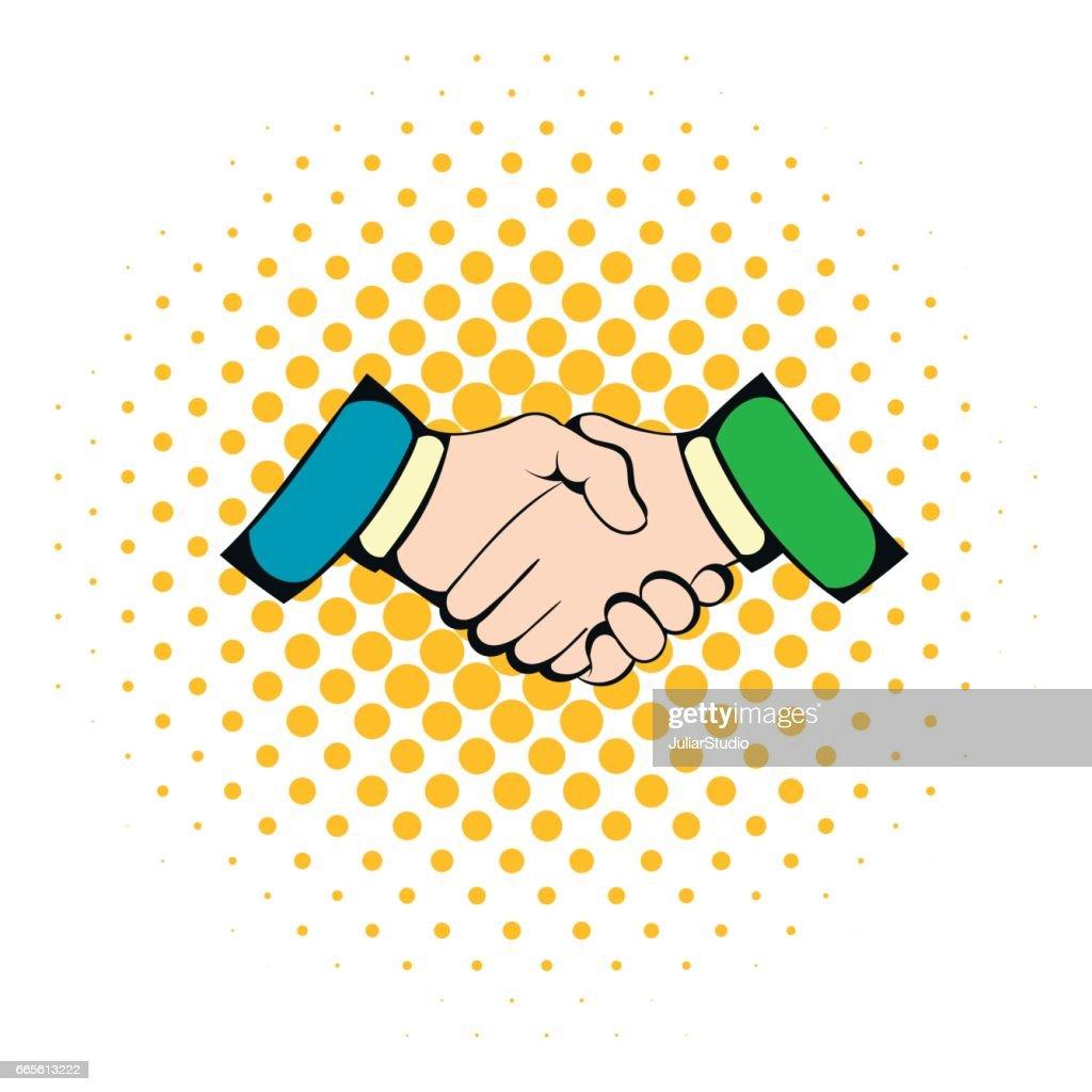 Handshake icon in comics style