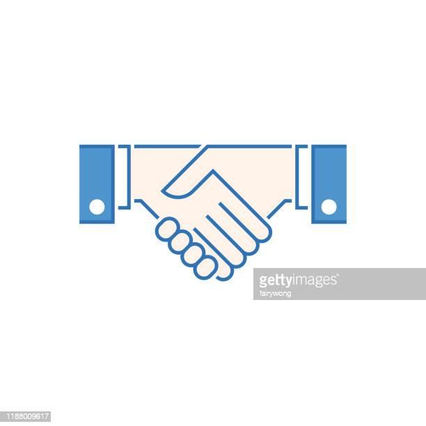 illustrazioni stock, clip art, cartoni animati e icone di tendenza di icona handshake - scuotere