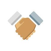 Handshake icon vector sign and symbol isolated on white background, Handshake logo concept