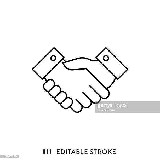 handshake icon with editable stroke and pixel perfect. - finance and economy stock illustrations