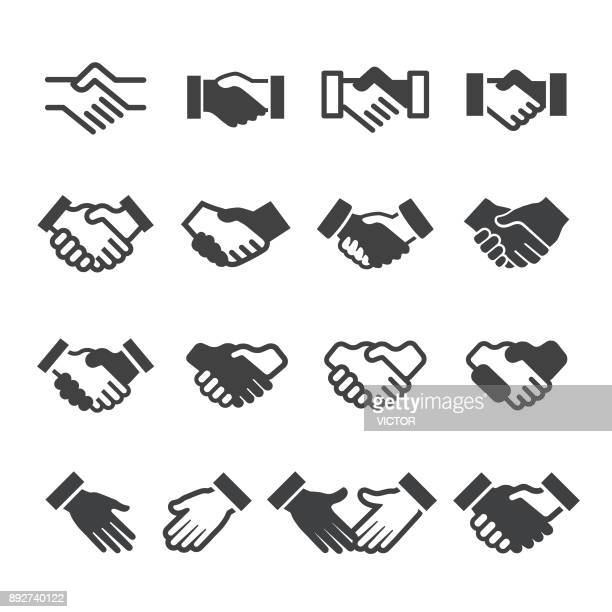 handshake icons - acme series - partnership teamwork stock illustrations