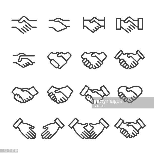 handshake icons - line series - shaking stock illustrations