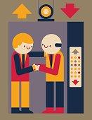 Handshake in elevator