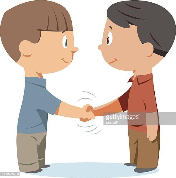 handshake kids - respect stock illustrations
