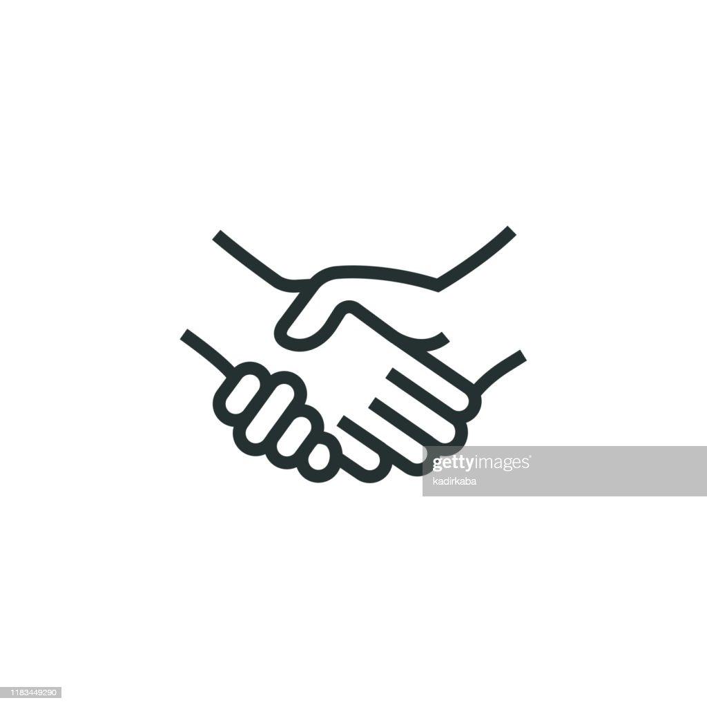 Handshake Line Icon : Stock Illustration