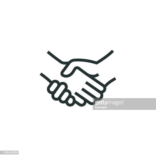 illustrazioni stock, clip art, cartoni animati e icone di tendenza di handshake line icon - team