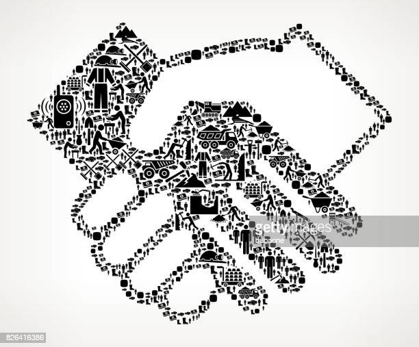 handshake  mining industry vector icon pattern - icon collage stock illustrations