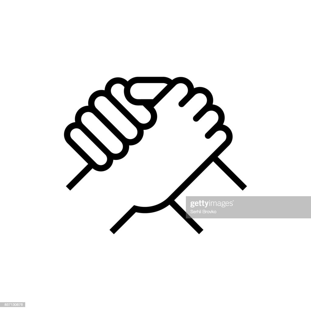 Handshake of business partners. Human greeting. Arm wrestling symbol. Vector illustration.