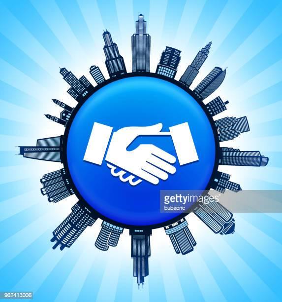 ilustrações de stock, clip art, desenhos animados e ícones de handshake  on modern cityscape skyline background - dar cartas