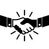 Handshake, partnership, business icon – vector for stock