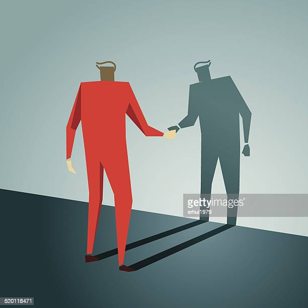 handshake, shadow, greeting, trust, competition, friendship - office politics stock illustrations, clip art, cartoons, & icons
