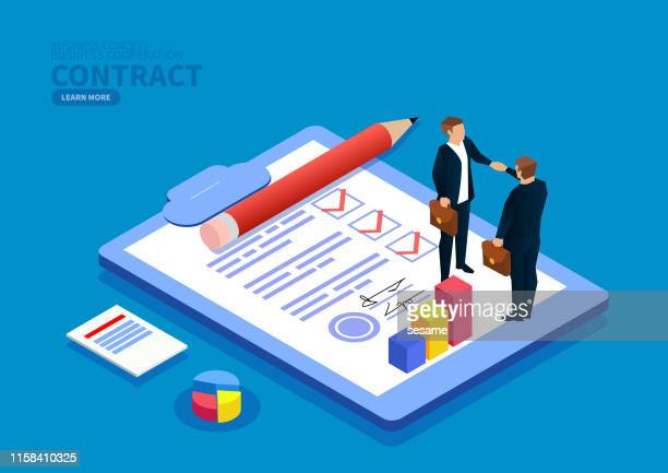 handshake signing contract - loan stock illustrations