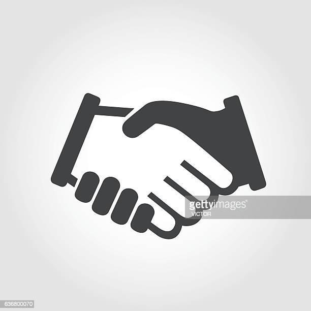 stockillustraties, clipart, cartoons en iconen met handshake symbol - iconic series - iemand een hand geven