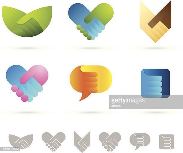 ilustrações, clipart, desenhos animados e ícones de aperto de mão símbolos - approval