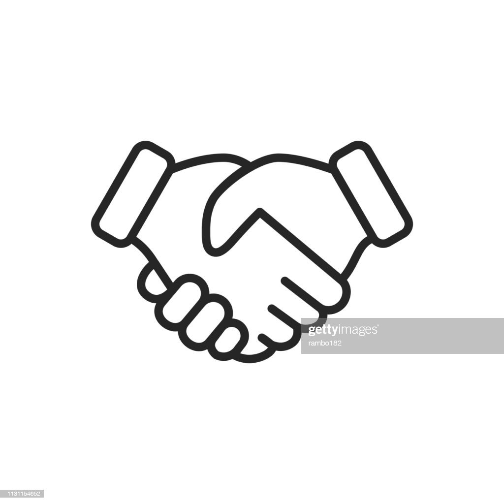 Handshake Thin Line Vector Icon. Editable Stroke. Pixel Perfect. For Mobile and Web. : Ilustração de stock