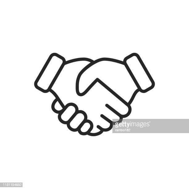 handshake thin line vector icon. editable stroke. pixel perfect. for mobile and web. - partnership teamwork stock illustrations