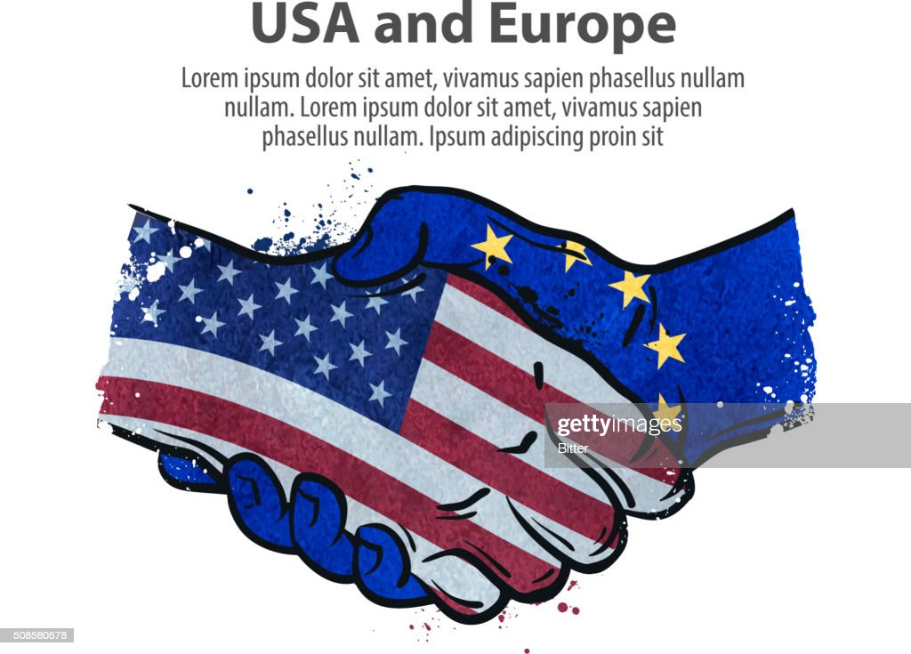 handshake. United States and Europe. vector illustration : Vectorkunst