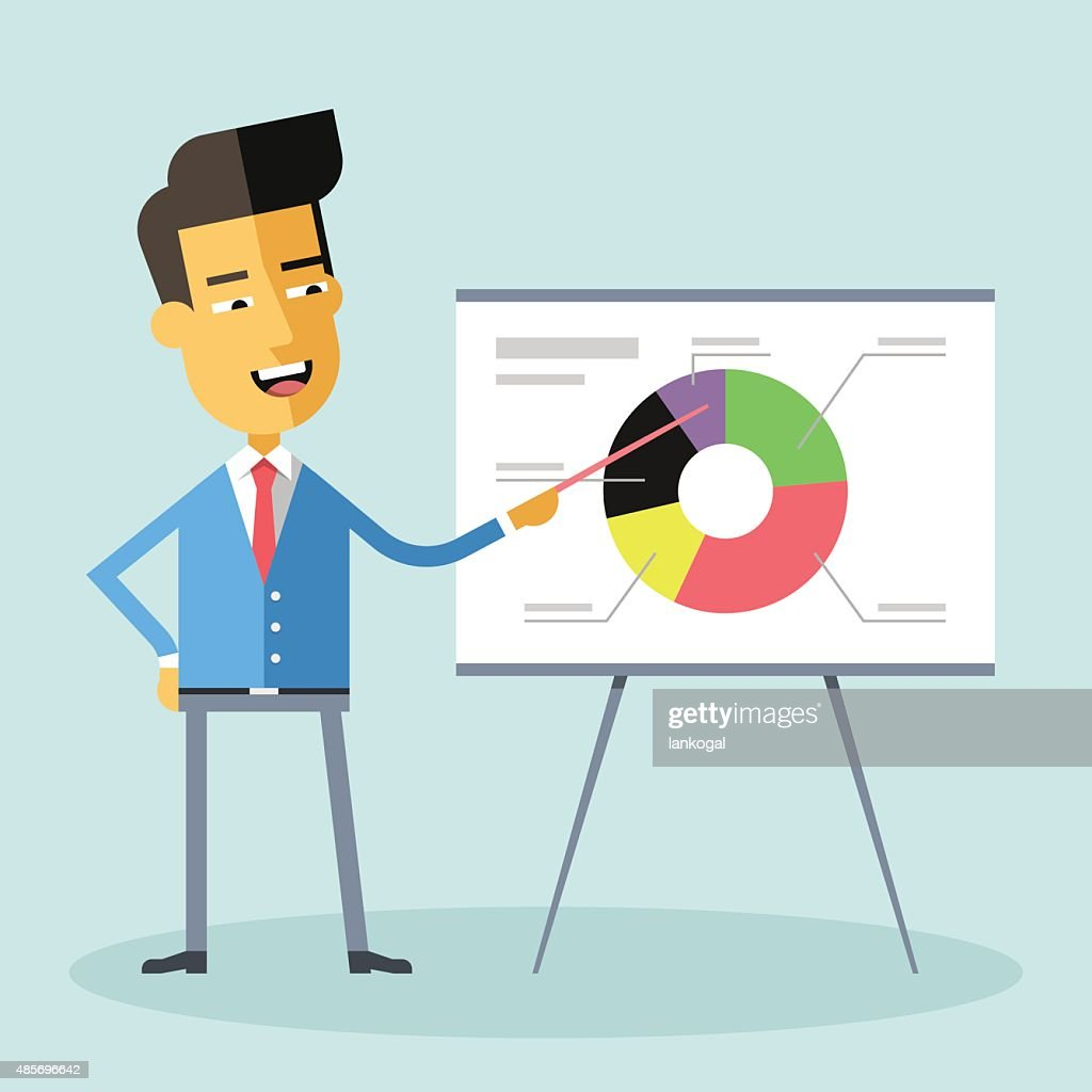 Handsome asian manager in formal suit gives presentation, shows diagram