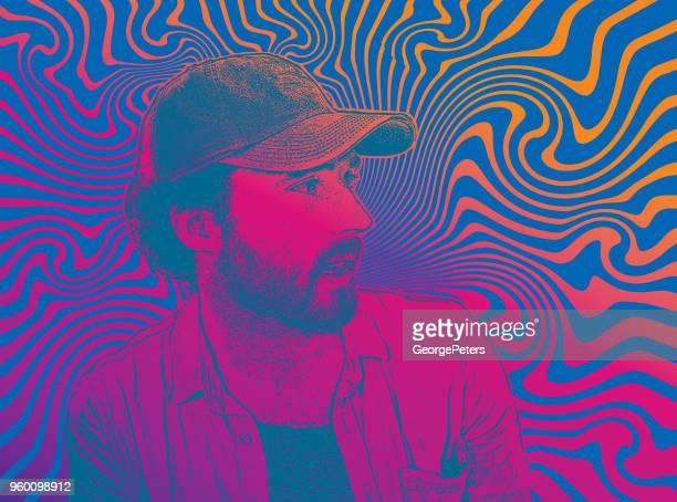 ilustrações, clipart, desenhos animados e ícones de jovem de hipster bonito com fundo psicodélico - intoxicação por cannabis