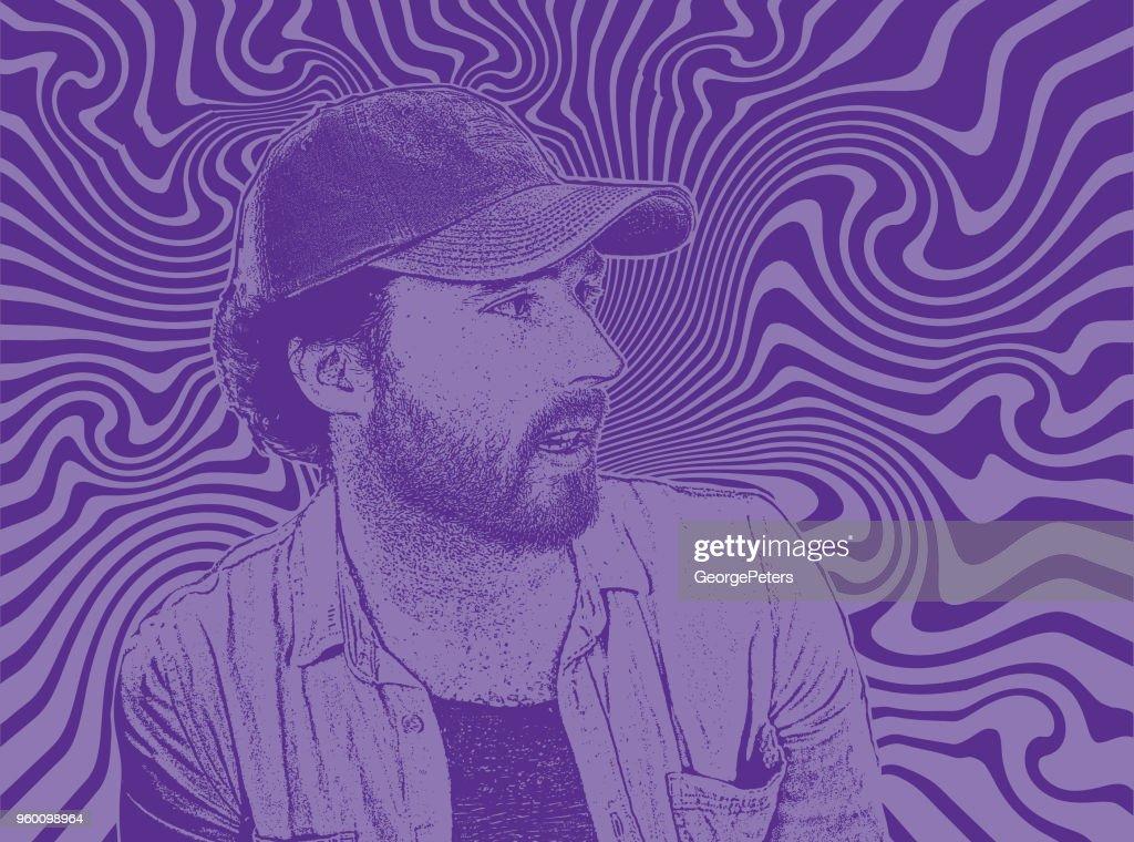Hübscher junger Mann der Hipster mit psychedelischen Hintergrund : Stock-Illustration