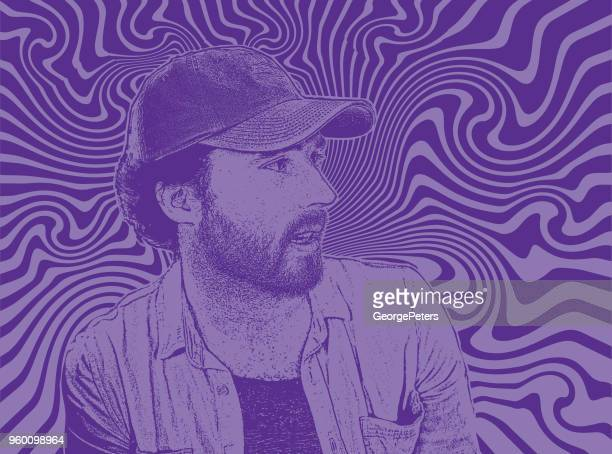 Handsome Hipster young man with psychedelic background