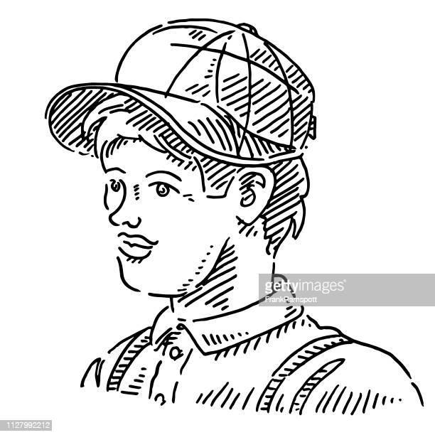 Gut aussehender Mann Baseball Cap Zeichnung