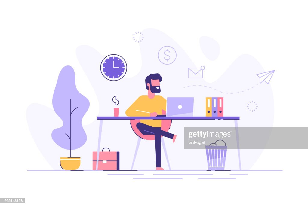 Handsome man is working at his laptop. Modern office interior with work process icons on the background. Vector illustration.