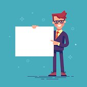 Handsome manager in formal suit holding a blank sheet and pointing by index finger to it. Template for your text. Cartoon character - cute businessman. Stock vector illustration in flat design.
