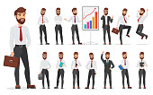 Handsome office businessman character different poses design. Vector cartoon man illustration.